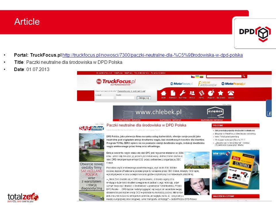 Article Portal: TruckFocus.pl http://truckfocus.pl/nowosci/7300/paczki-neutralne-dla-%C5%9Brodowiska-w-dpd-polska.