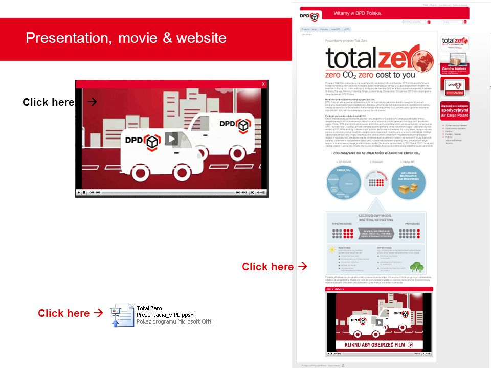 Presentation, movie & website
