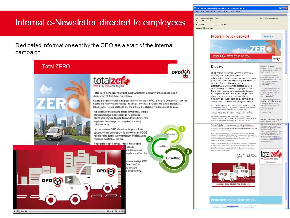 Internal e-Newsletter directed to employees