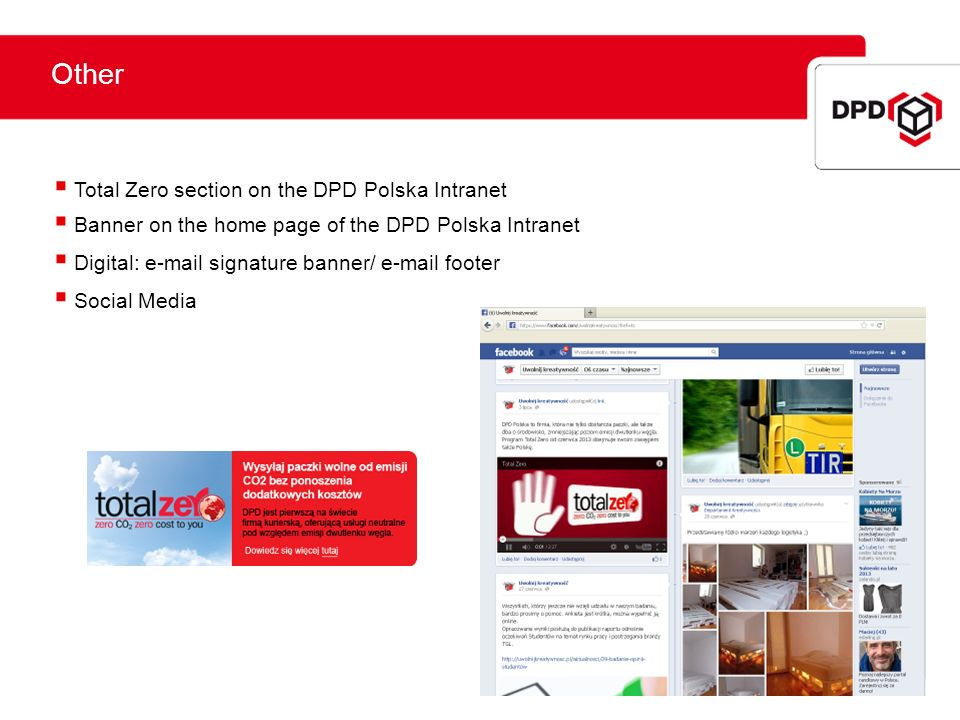 Other W mediach 2013 Total Zero section on the DPD Polska Intranet