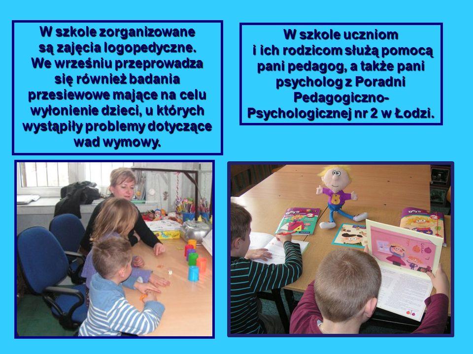 W szkole zorganizowane są zajęcia logopedyczne