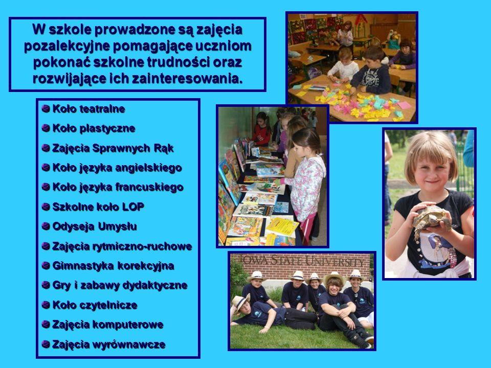 W szkole prowadzone są zajęcia pozalekcyjne pomagające uczniom pokonać szkolne trudności oraz rozwijające ich zainteresowania.