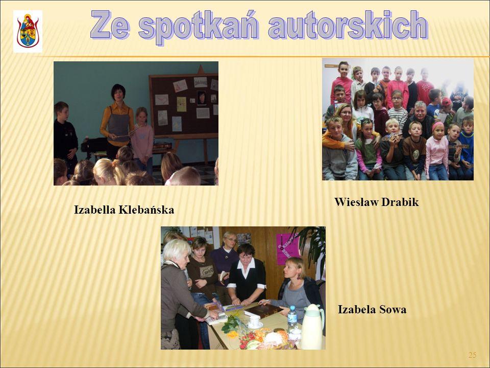 Ze spotkań autorskich Wiesław Drabik Izabella Klebańska Izabela Sowa