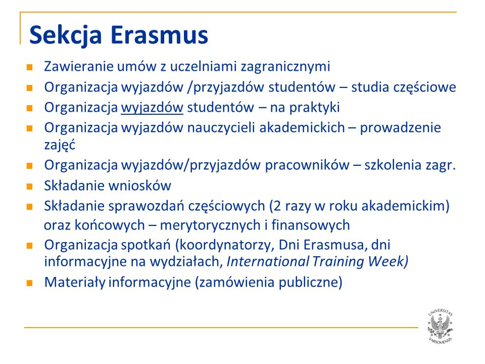 Sekcja Erasmus Zawieranie umów z uczelniami zagranicznymi