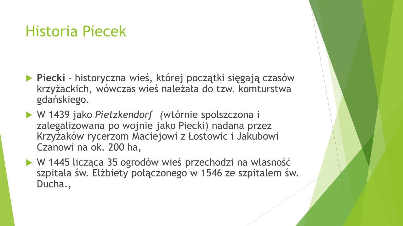 Historia Piecek Piecki – historyczna wieś, której początki sięgają czasów krzyżackich, wówczas wieś należała do tzw. komturstwa gdańskiego.