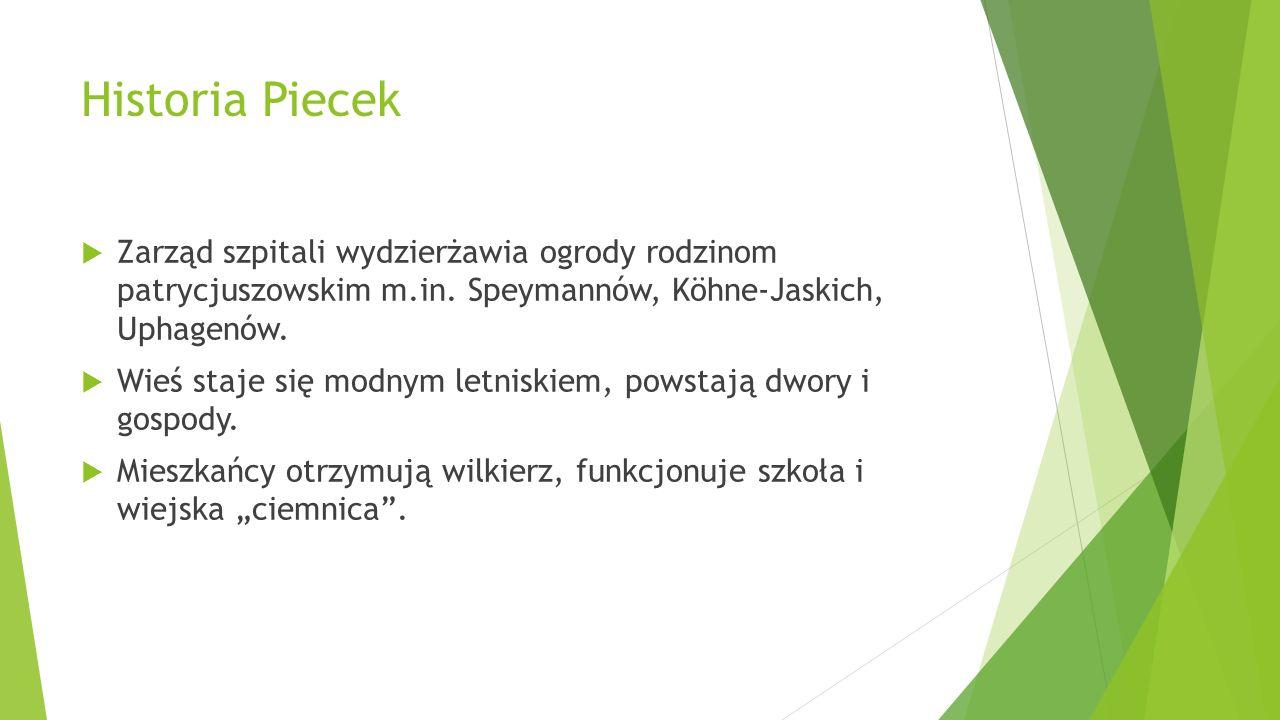 Historia Piecek Zarząd szpitali wydzierżawia ogrody rodzinom patrycjuszowskim m.in. Speymannów, Köhne-Jaskich, Uphagenów.