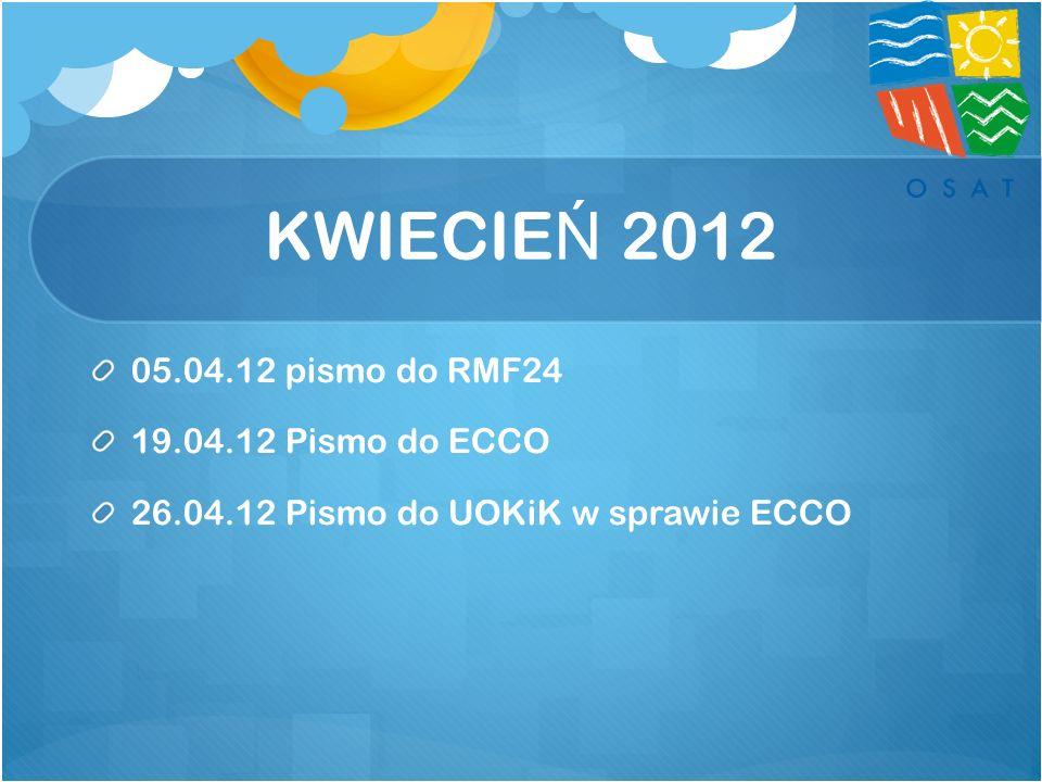 KWIECIEŃ 2012 05.04.12 pismo do RMF24 19.04.12 Pismo do ECCO