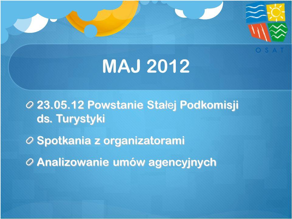 MAJ 2012 23.05.12 Powstanie Stałej Podkomisji ds. Turystyki