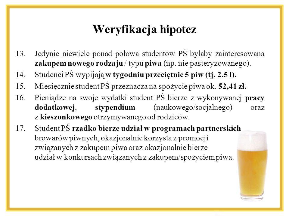 Weryfikacja hipotez Jedynie niewiele ponad połowa studentów PŚ byłaby zainteresowana zakupem nowego rodzaju / typu piwa (np. nie pasteryzowanego).