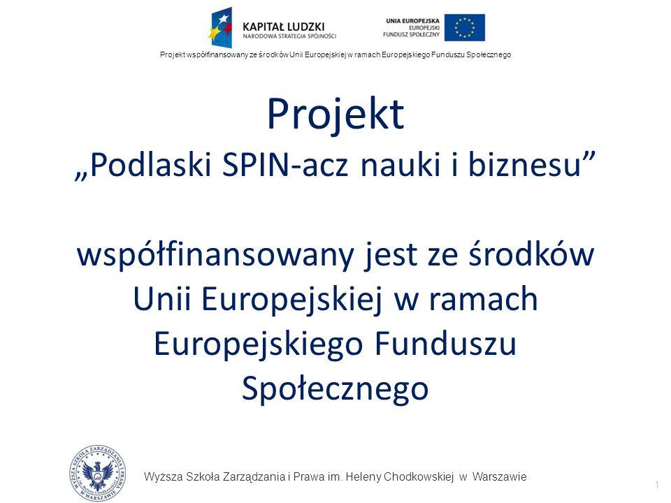 """Projekt """"Podlaski SPIN-acz nauki i biznesu współfinansowany jest ze środków Unii Europejskiej w ramach Europejskiego Funduszu Społecznego"""