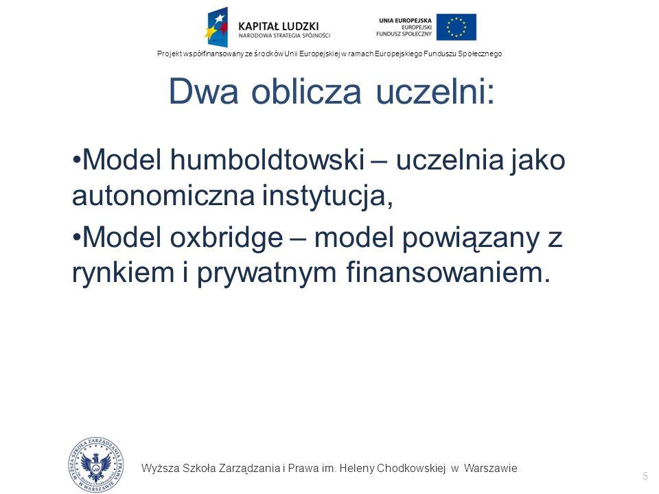 Dwa oblicza uczelni: Model humboldtowski – uczelnia jako autonomiczna instytucja,