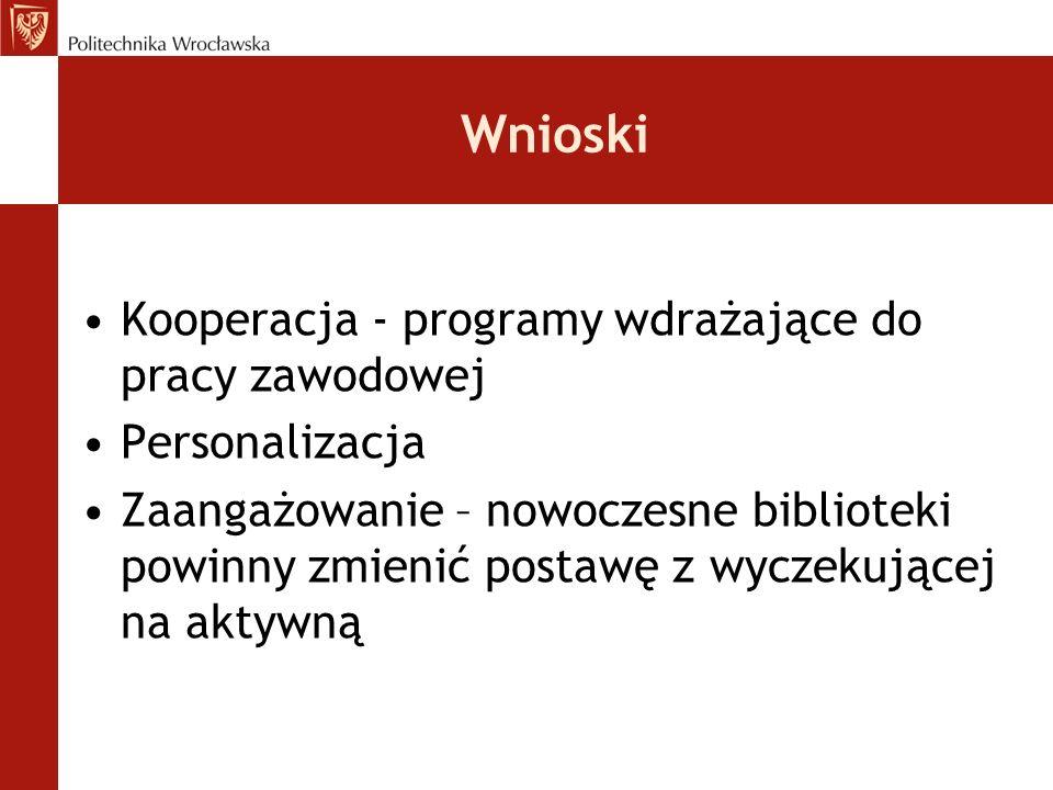 Wnioski Kooperacja - programy wdrażające do pracy zawodowej