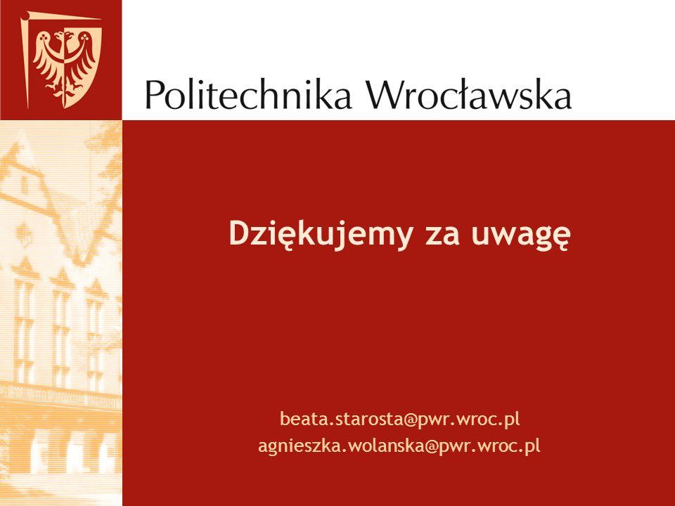 beata.starosta@pwr.wroc.pl agnieszka.wolanska@pwr.wroc.pl