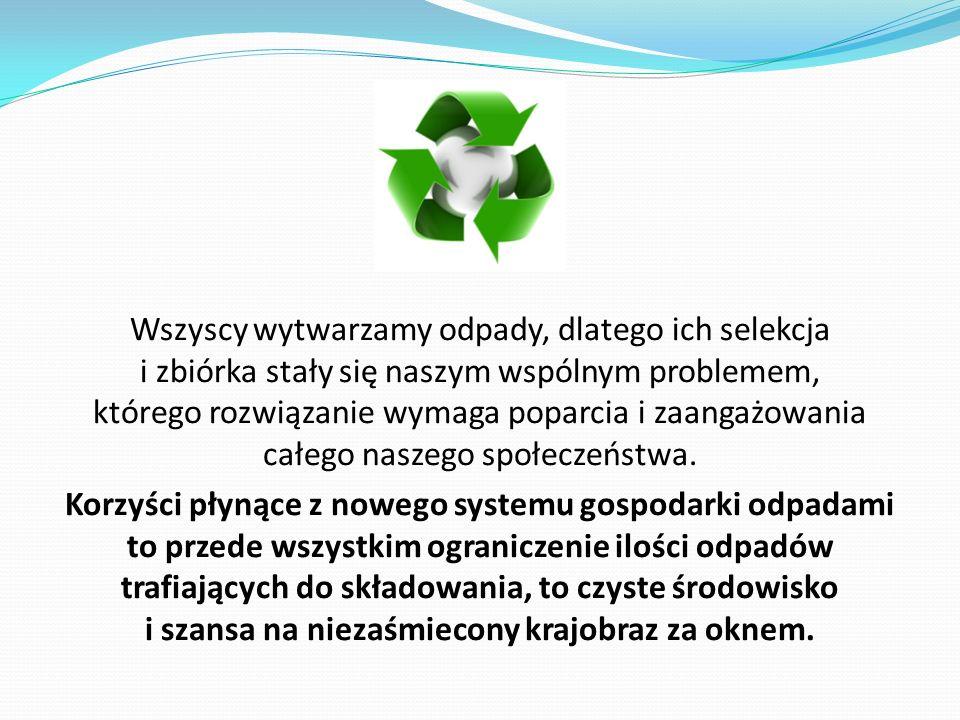 Wszyscy wytwarzamy odpady, dlatego ich selekcja i zbiórka stały się naszym wspólnym problemem, którego rozwiązanie wymaga poparcia i zaangażowania całego naszego społeczeństwa.