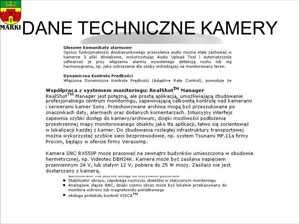 DANE TECHNICZNE KAMERY