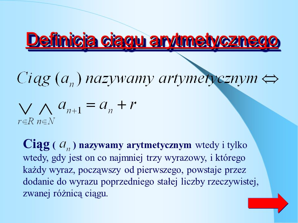 Definicja ciągu arytmetycznego