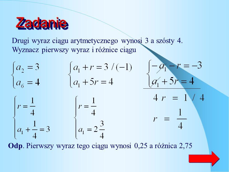 Zadanie Drugi wyraz ciągu arytmetycznego wynosi 3 a szósty 4. Wyznacz pierwszy wyraz i różnice ciągu.