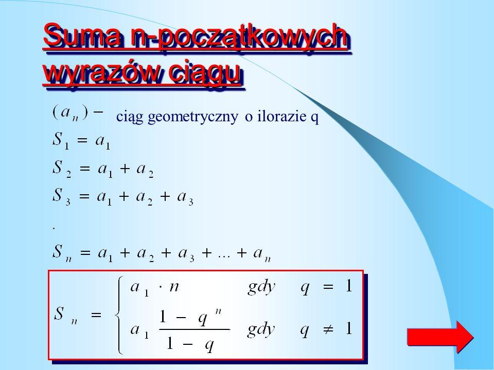Suma n-początkowych wyrazów ciągu