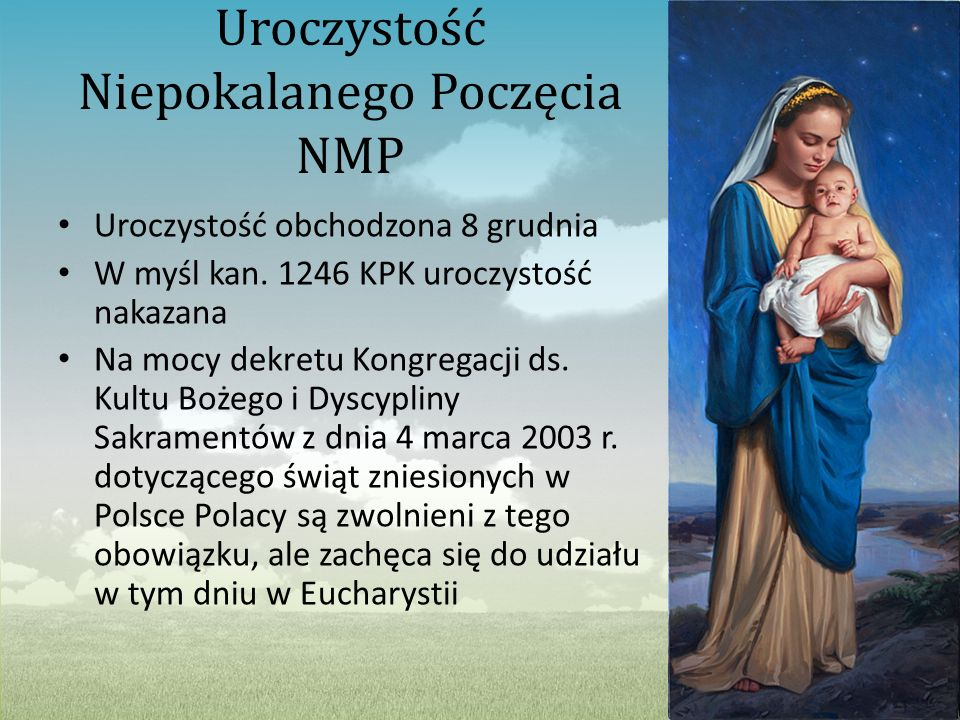 Uroczystość Niepokalanego Poczęcia NMP