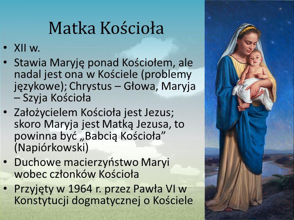 Matka Kościoła XII w. Stawia Maryję ponad Kościołem, ale nadal jest ona w Kościele (problemy językowe); Chrystus – Głowa, Maryja – Szyja Kościoła.
