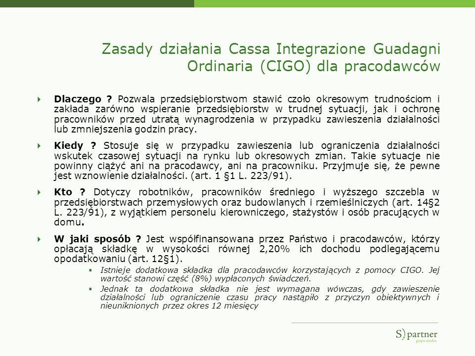 Zasady działania Cassa Integrazione Guadagni Ordinaria (CIGO) dla pracodawców