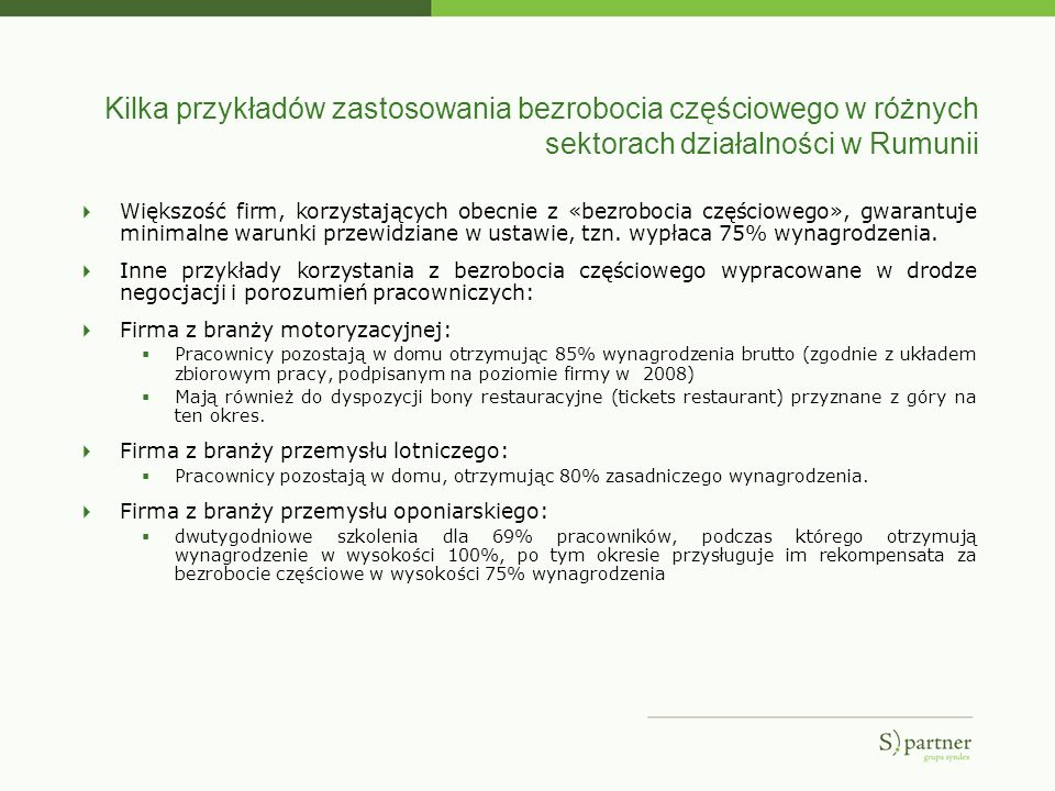 Kilka przykładów zastosowania bezrobocia częściowego w różnych sektorach działalności w Rumunii