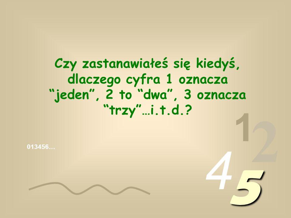 Czy zastanawiałeś się kiedyś, dlaczego cyfra 1 oznacza jeden , 2 to dwa , 3 oznacza trzy …i.t.d.
