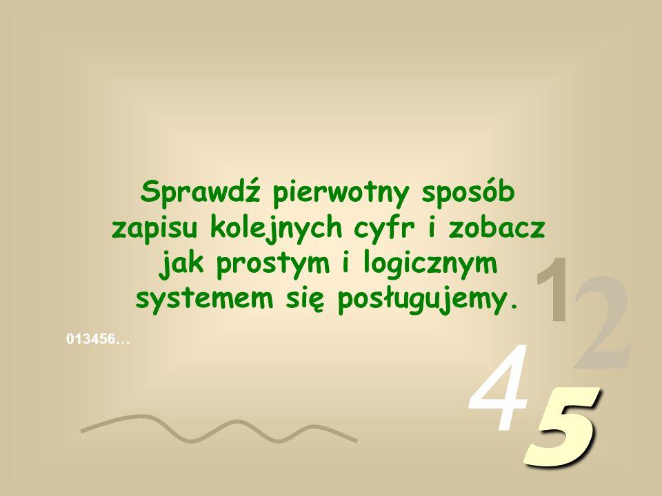Sprawdź pierwotny sposób zapisu kolejnych cyfr i zobacz jak prostym i logicznym systemem się posługujemy.