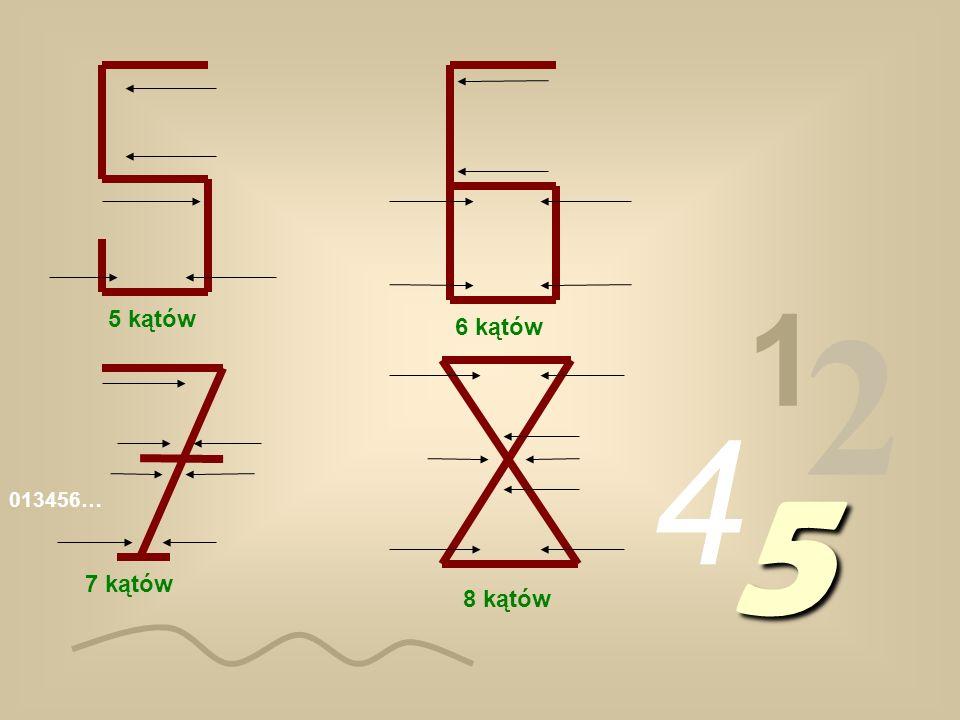 1 2 5 kątów 6 kątów 4 5 013456… 7 kątów 8 kątów