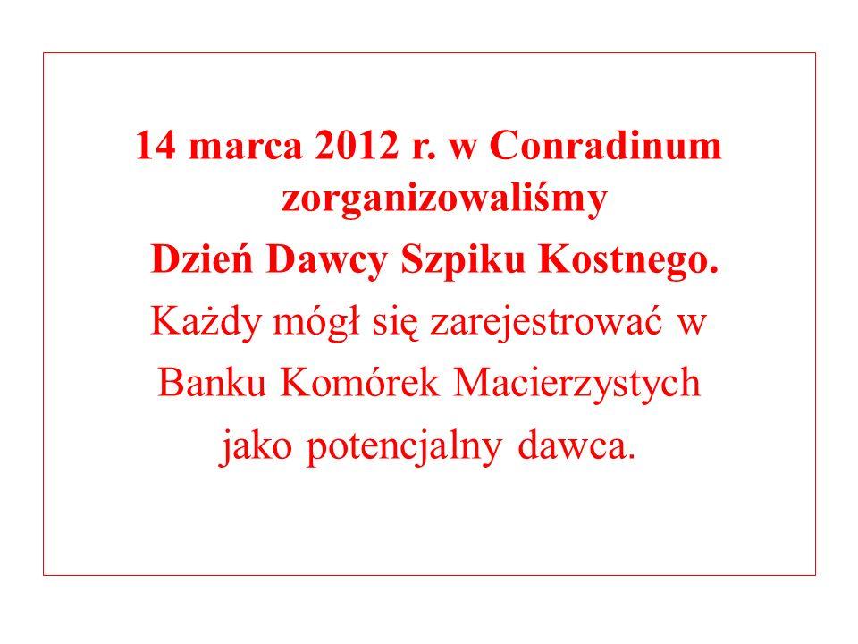 14 marca 2012 r. w Conradinum zorganizowaliśmy Dzień Dawcy Szpiku Kostnego.