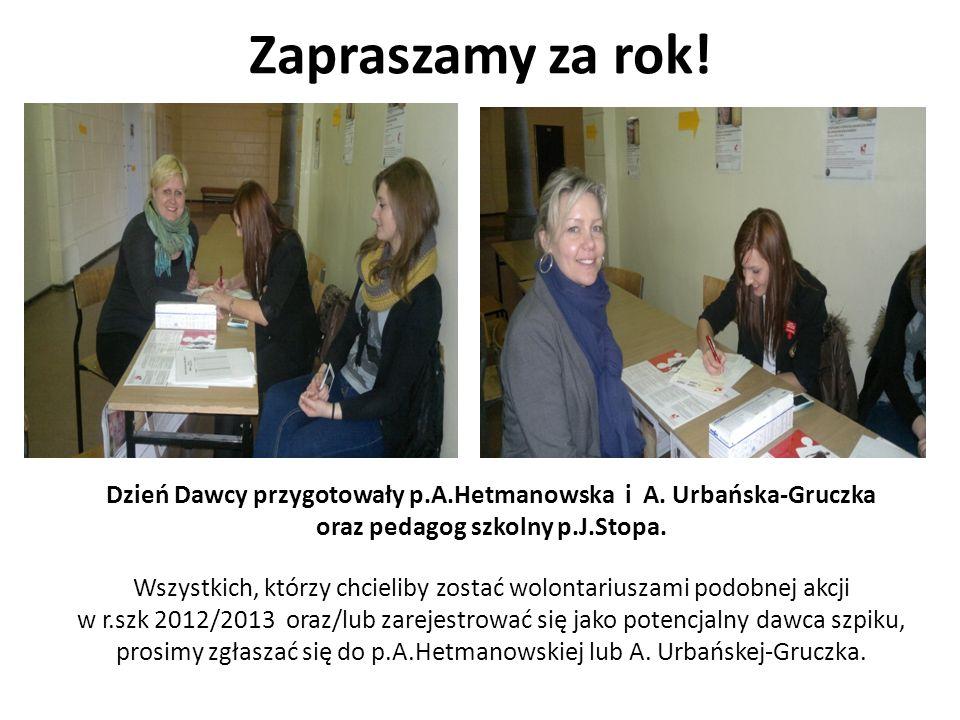 Zapraszamy za rok! Dzień Dawcy przygotowały p.A.Hetmanowska i A. Urbańska-Gruczka. oraz pedagog szkolny p.J.Stopa.
