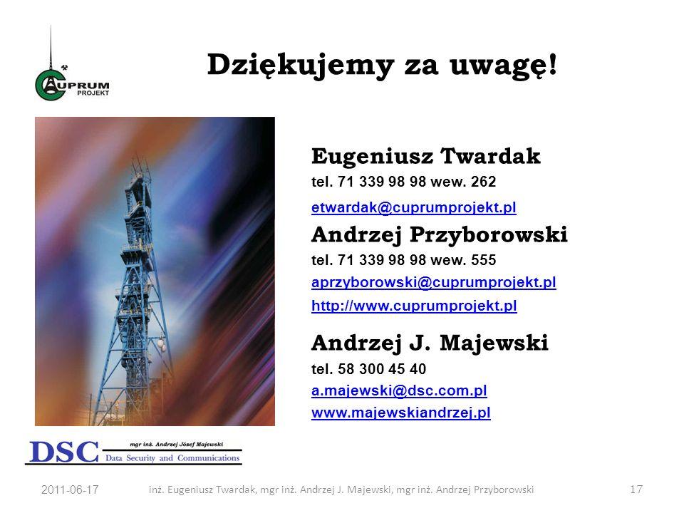 Dziękujemy za uwagę! Eugeniusz Twardak Andrzej Przyborowski