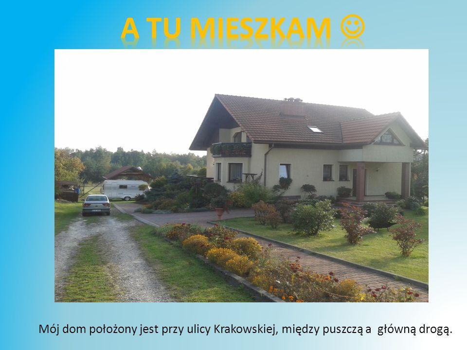 A tu mieszkam  Mój dom położony jest przy ulicy Krakowskiej, między puszczą a główną drogą.