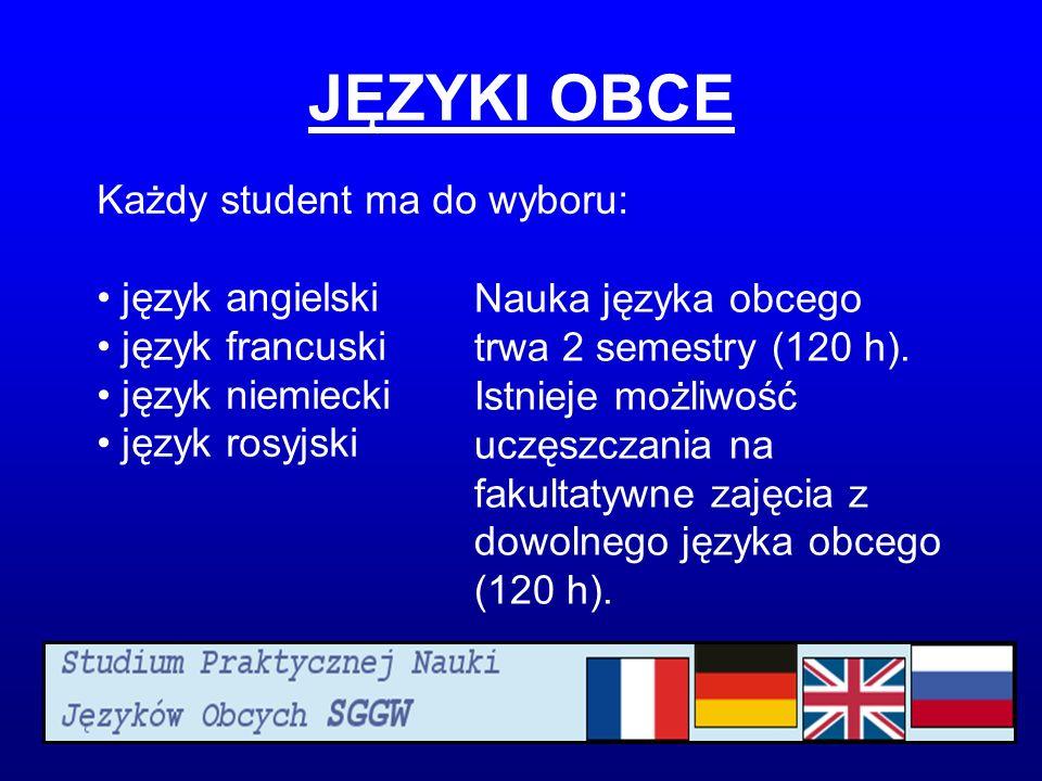 JĘZYKI OBCE Każdy student ma do wyboru: język angielski
