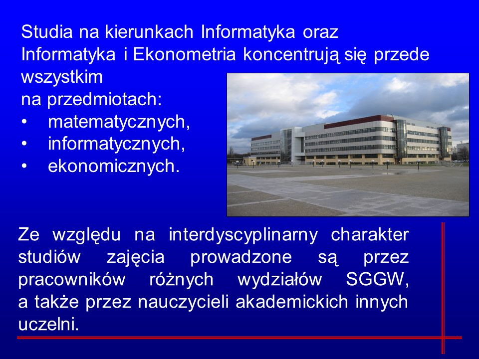 Studia na kierunkach Informatyka oraz Informatyka i Ekonometria koncentrują się przede wszystkim na przedmiotach: