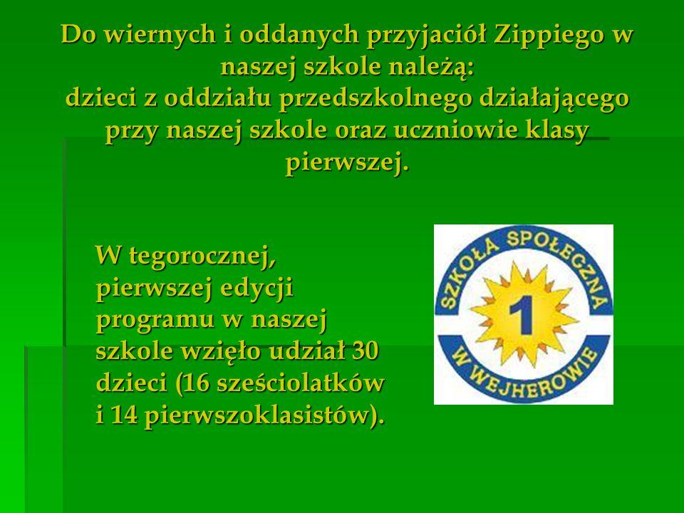 Do wiernych i oddanych przyjaciół Zippiego w naszej szkole należą: dzieci z oddziału przedszkolnego działającego przy naszej szkole oraz uczniowie klasy pierwszej.
