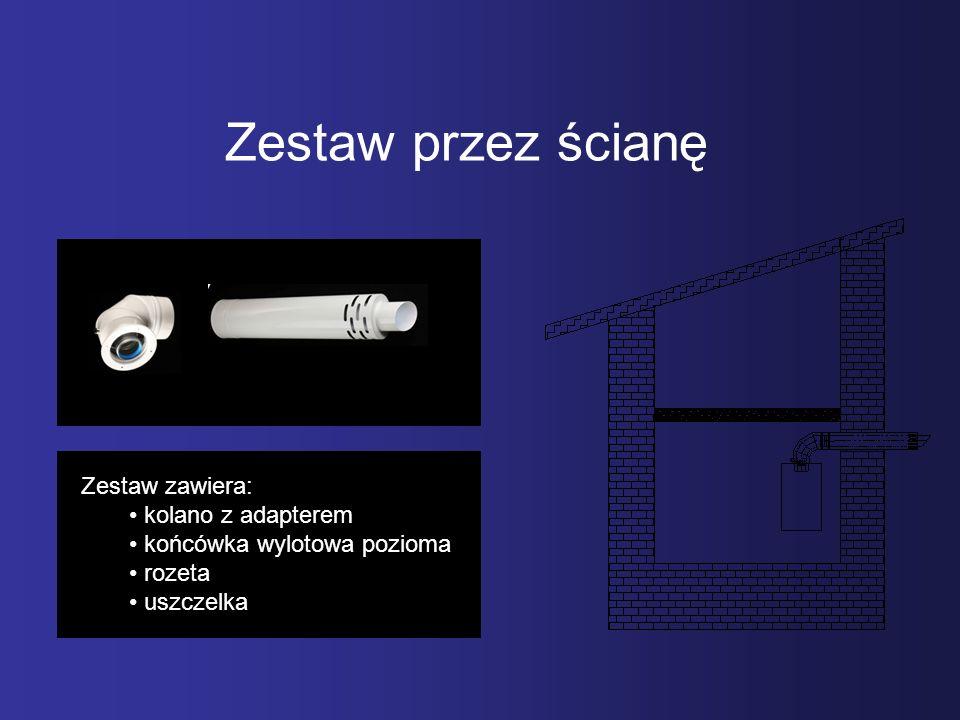 Zestaw przez ścianę Zestaw zawiera: kolano z adapterem
