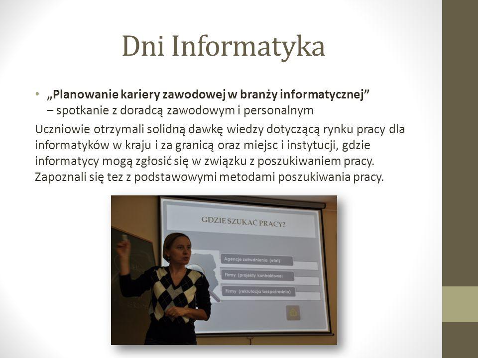 """Dni Informatyka """"Planowanie kariery zawodowej w branży informatycznej – spotkanie z doradcą zawodowym i personalnym."""
