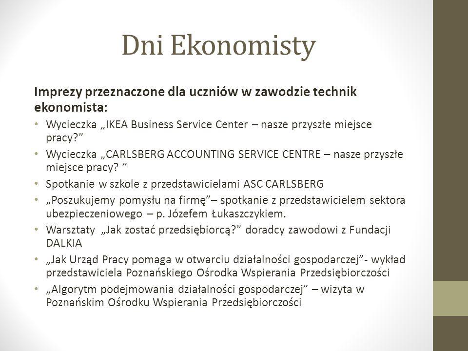 Dni Ekonomisty Imprezy przeznaczone dla uczniów w zawodzie technik ekonomista: