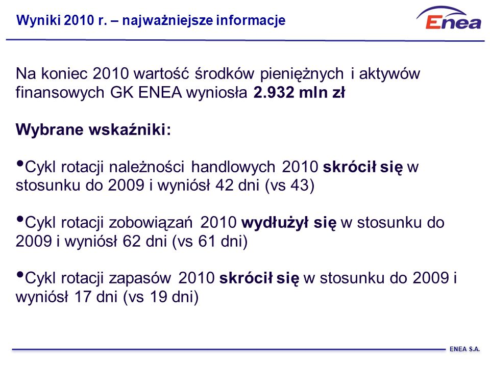 Wyniki 2010 r. – najważniejsze informacje