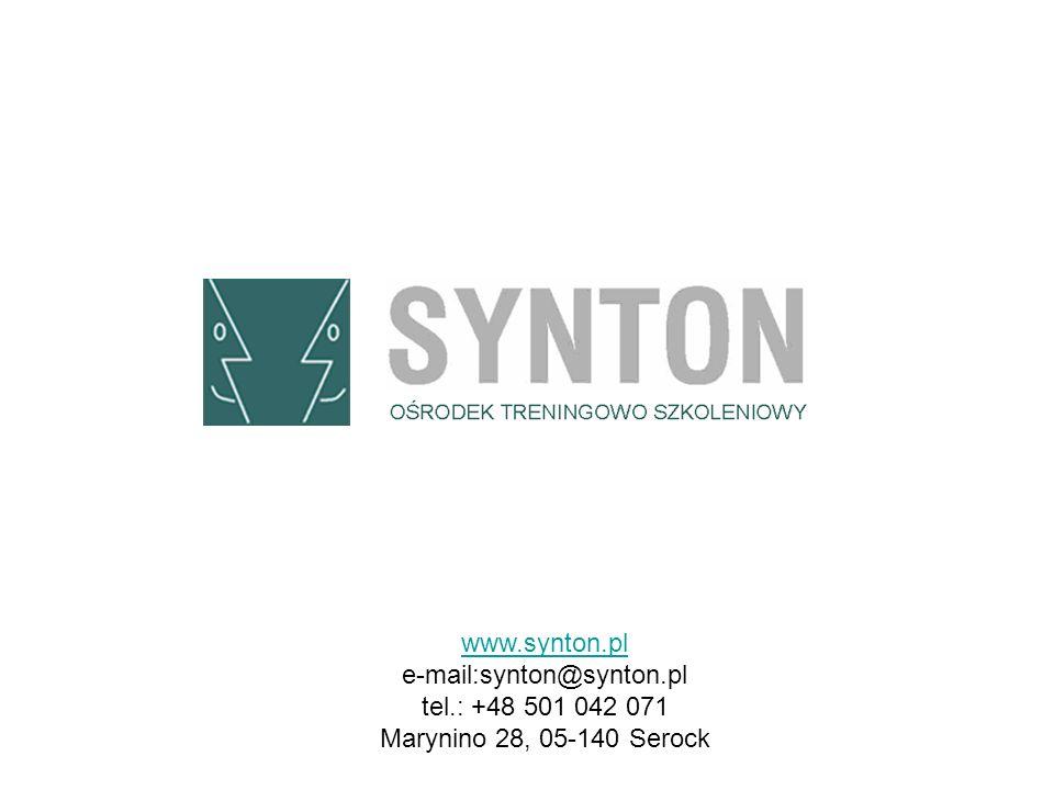 www.synton.pl e-mail:synton@synton.pl tel.: +48 501 042 071 Marynino 28, 05-140 Serock