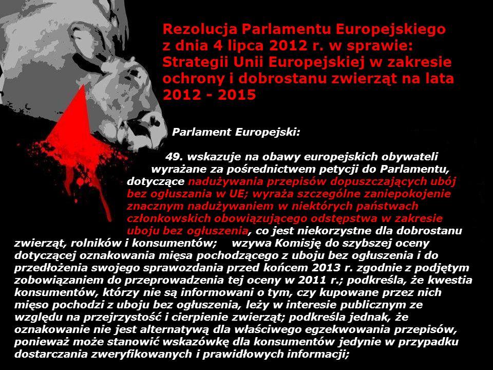 Rezolucja Parlamentu Europejskiego z dnia 4 lipca 2012 r. w sprawie: