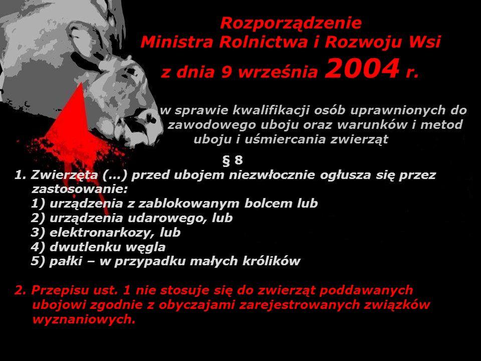 Ministra Rolnictwa i Rozwoju Wsi z dnia 9 września 2004 r.