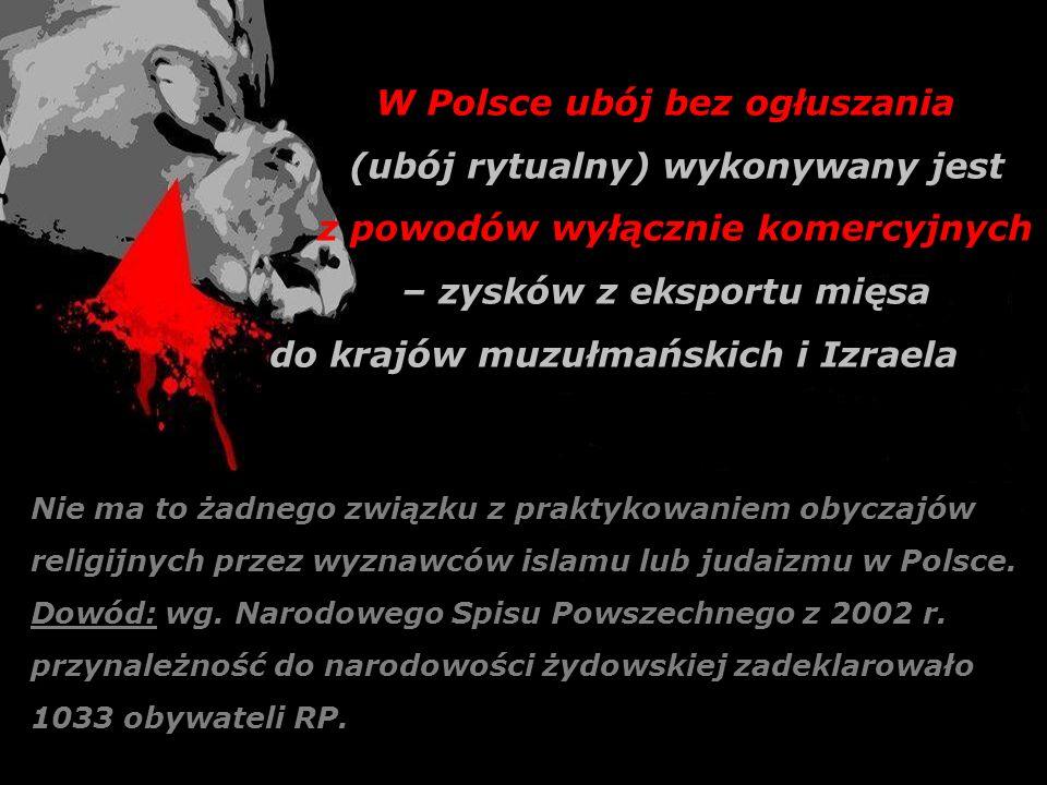 W Polsce ubój bez ogłuszania (ubój rytualny) wykonywany jest