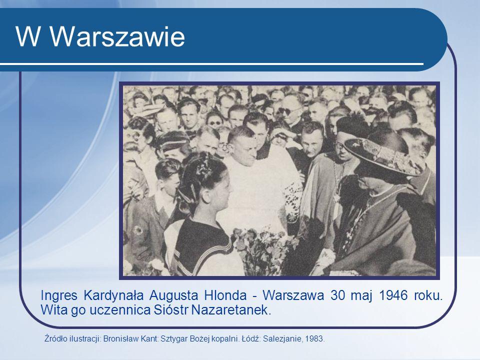 W Warszawie Ingres Kardynała Augusta Hlonda - Warszawa 30 maj 1946 roku. Wita go uczennica Sióstr Nazaretanek.