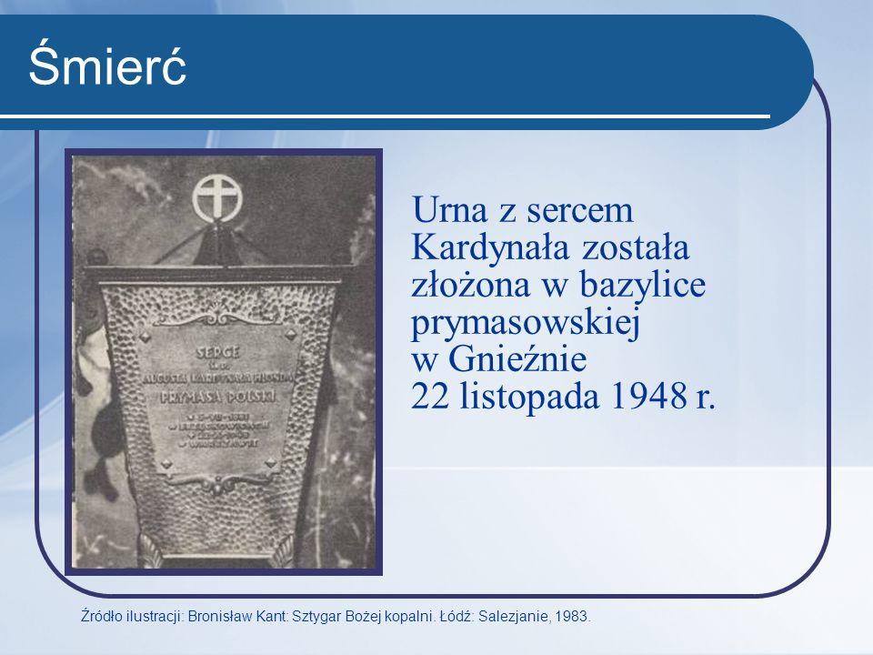 Śmierć Urna z sercem Kardynała została złożona w bazylice prymasowskiej w Gnieźnie 22 listopada 1948 r.