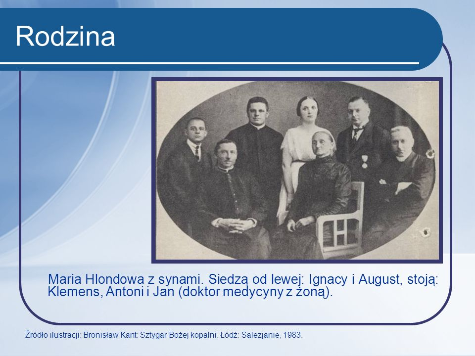Rodzina Maria Hlondowa z synami. Siedzą od lewej: Ignacy i August, stoją: Klemens, Antoni i Jan (doktor medycyny z żoną).