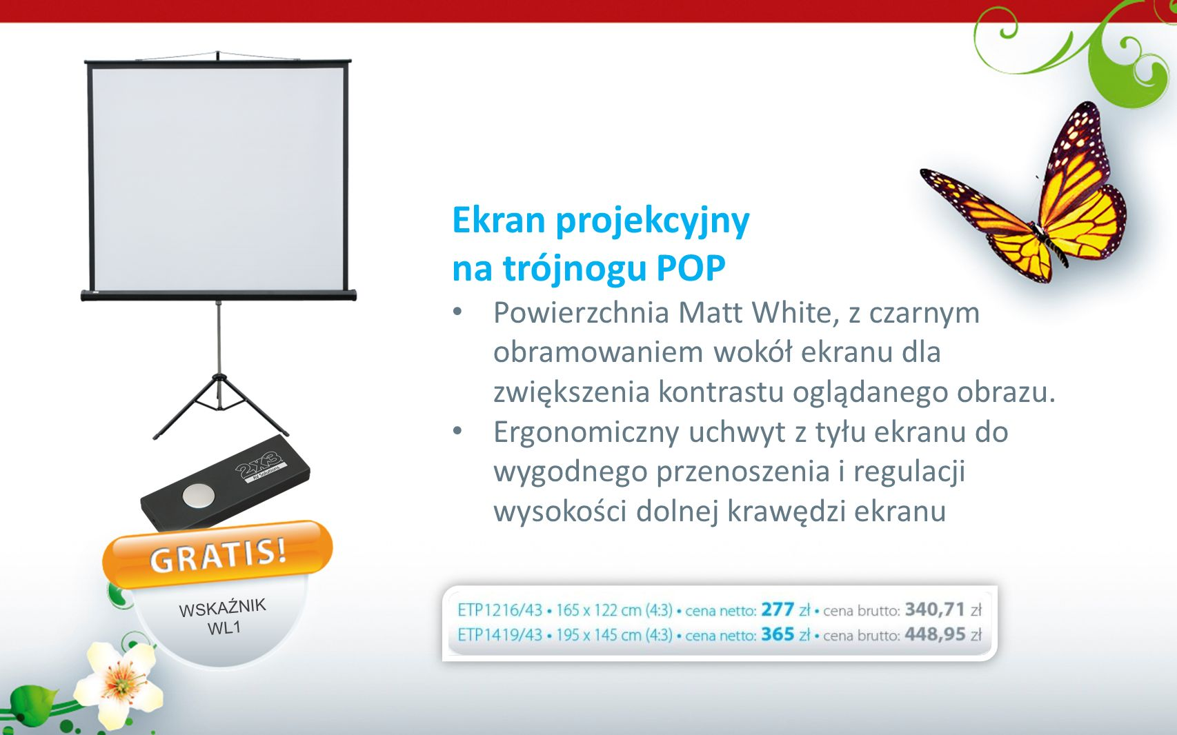 Ekran projekcyjny na trójnogu POP
