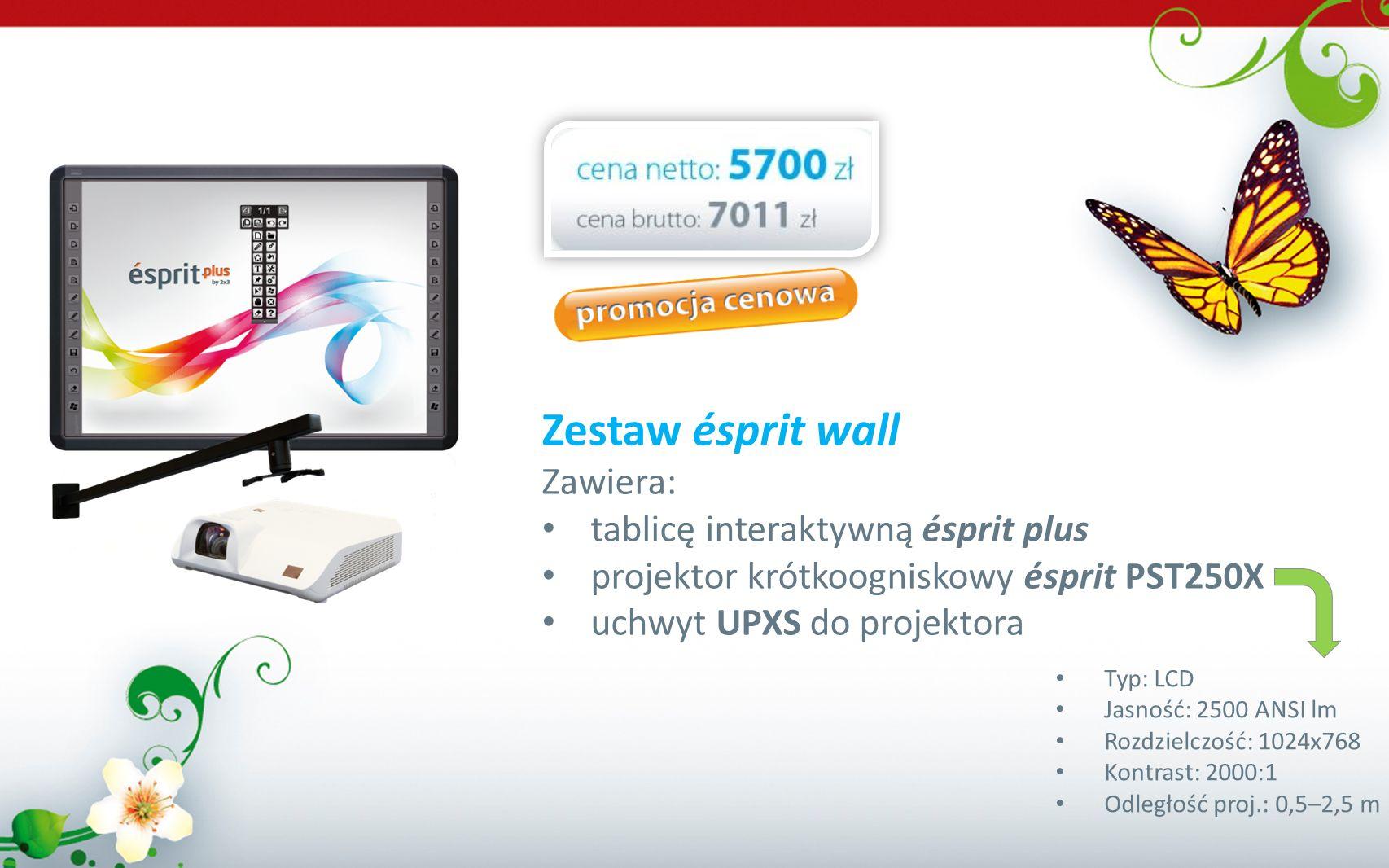 Zestaw ésprit wall Zawiera: tablicę interaktywną ésprit plus