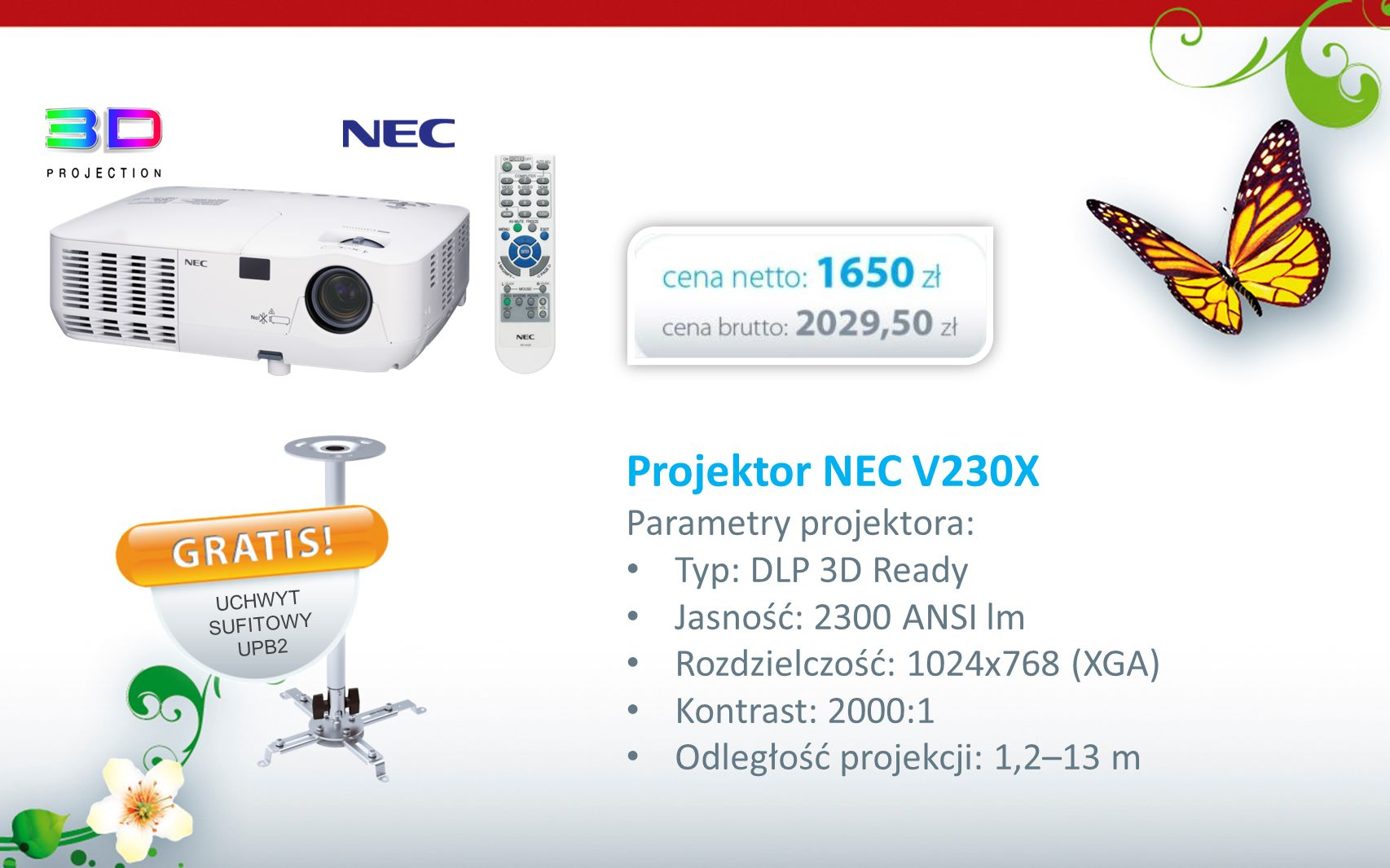 Projektor NEC V230X Parametry projektora: Typ: DLP 3D Ready